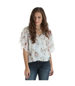 Wrangler Top Crossover Drape Front Floral Print Allover LW7198M