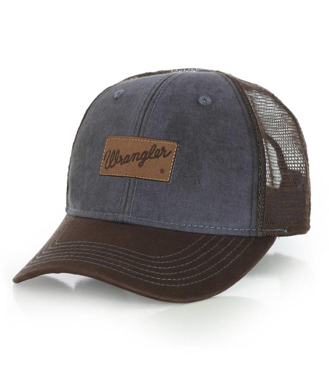 Wrangler Cap Trucker Logo Patch Denim Blue MWC238M