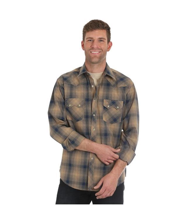 Wrangler Shirt Plaid Sawtooth Snap Pocket Long Sleeve Retro MVR374M
