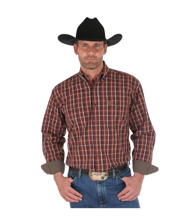 Wrangler Shirt Plaid Button Down Long Sleeve George Strait MGSE509