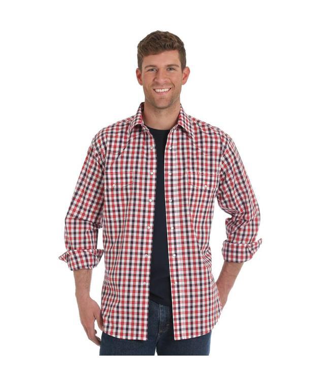 Wrangler Shirt Plaid Western Long Sleeve Wrinkle Resist MWR264M