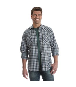 Wrangler Shirt Western Snap Plaid Long Sleeve With Contrast Trim Retro MVR387M