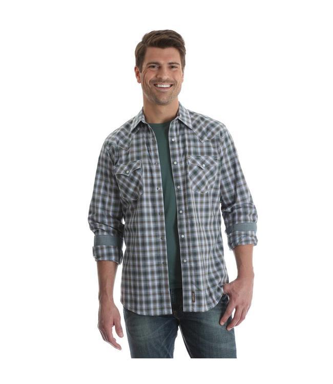 Wrangler Shirt Western Snap Plaid Long Sleeve With Contrast Trim Retro MVR387M