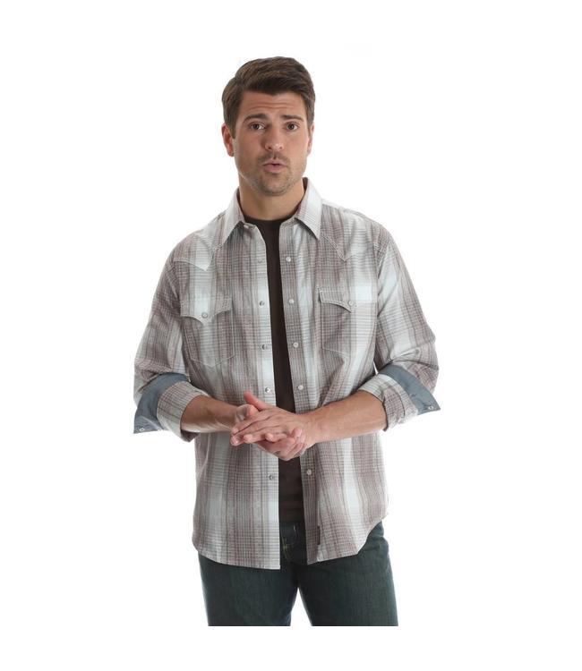 Wrangler Shirt Western Snap Plaid Long Sleeve With Contrast Trim Retro MVR384M