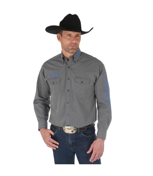 Wrangler Shirt Print Button Down Long Sleeve Wrangler Logo MP2337X