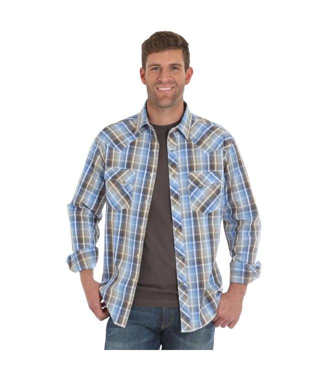 Wrangler Shirt Plaid Western Fashion Snap Long Sleeve MVG211M