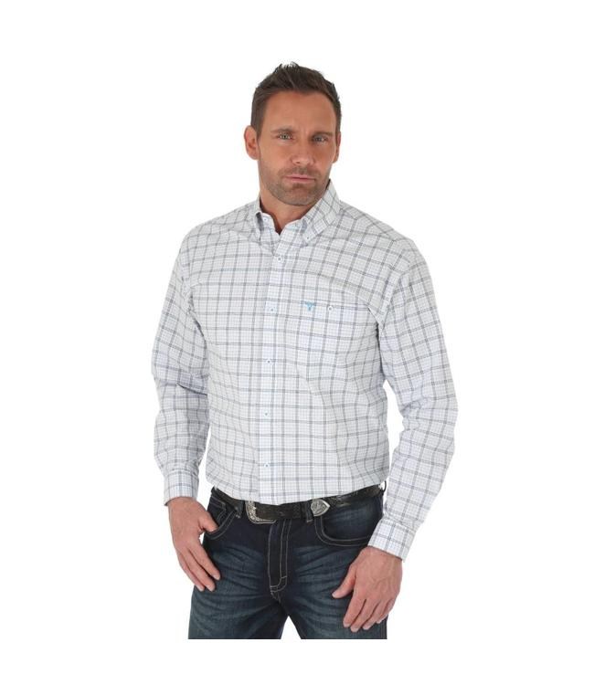 Wrangler Shirt Plaid Button Down One Pocket Long Sleeve 20X Competition Advanced Comfort MJC132M