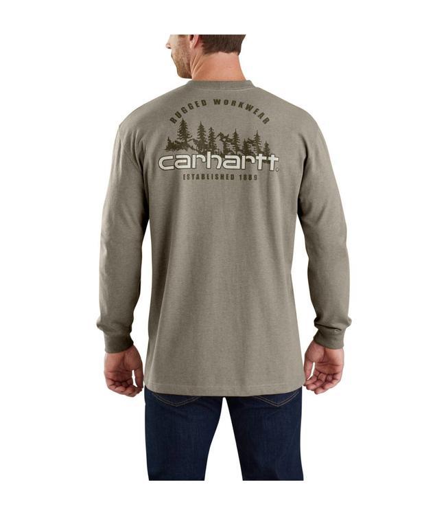 Carhartt T-Shirt Long-Sleeve Pocket Rugged Outdoors Graphic Workwear 103394