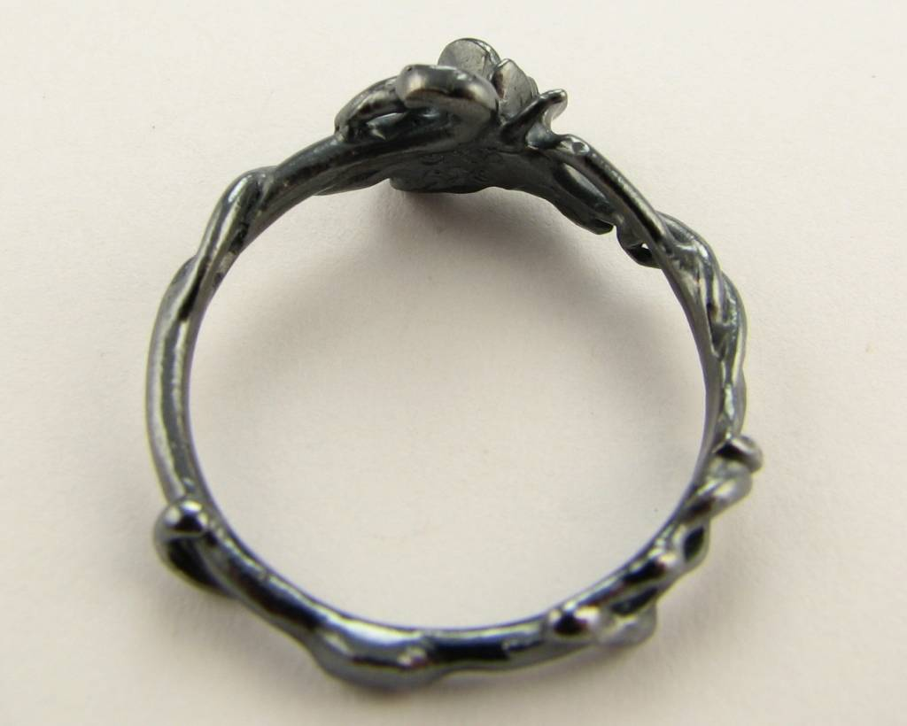 Signature Rose Black Silver Ring, Rose Garden