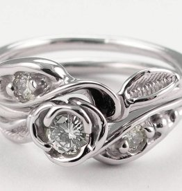 Signature Rose Tea Rose Wedding Set - White Gold and Diamond