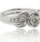 Signature Rose Tea Rose Wedding Set - White Gold and Diamond