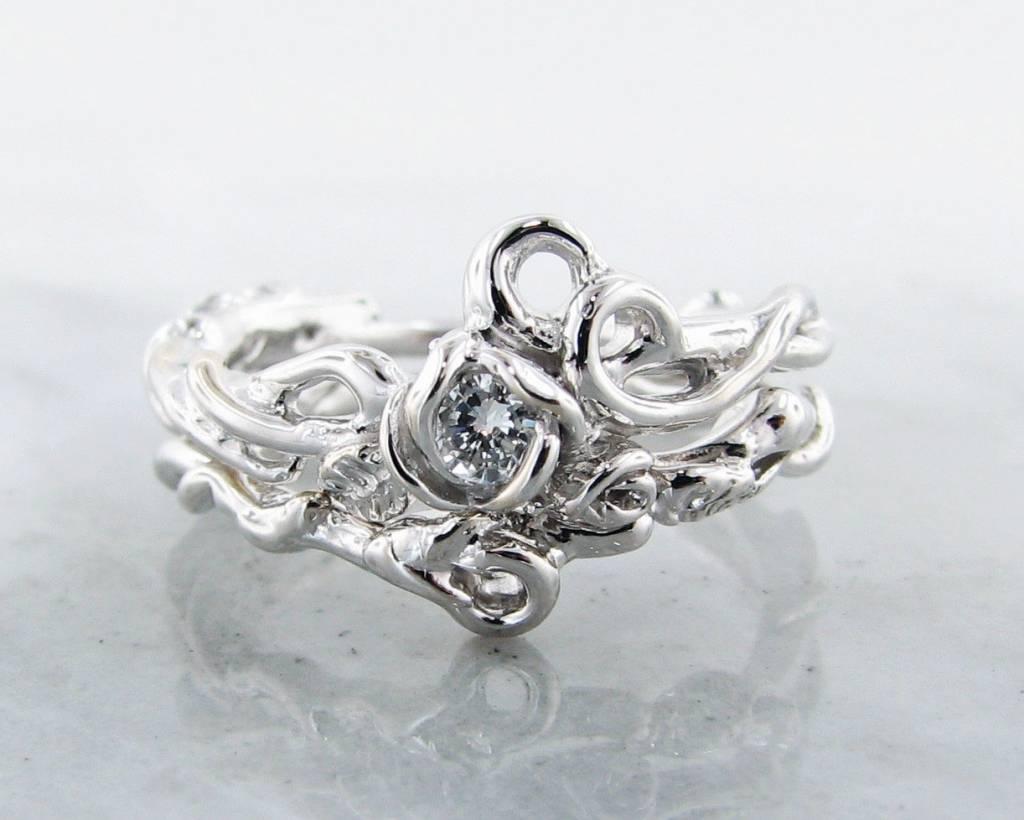Signature Rose Diamond White Gold Wedding Ring Set, Rose Garden