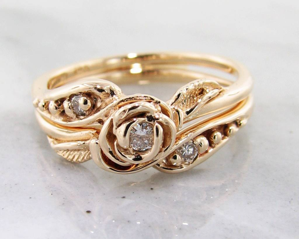 Signature Rose Diamond Yellow Gold Wedding Ring Set