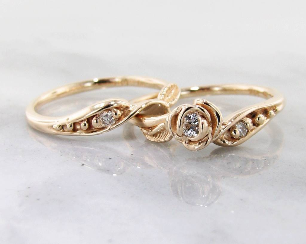 Signature Rose Diamond Yellow Gold Wedding Ring Set, Tea Rose