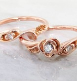 Signature Rose Diamond Rose Gold Wedding Ring Set, Tea Rose