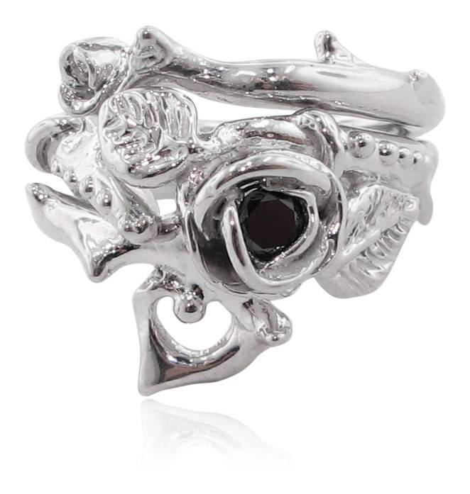 Signature Rose Silver Black Diamond Wedding Ring Set, Thorned Rose