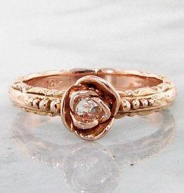 Signature Rose Diamond Rose Solitaire Gold Ring, Edwardian Rose