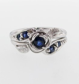 Signature Rose Sapphire Silver Wedding Ring Set, Prize Tea Rose
