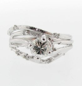 Organic Diamond White Gold Wedding Ring Set, Cherry Blossom