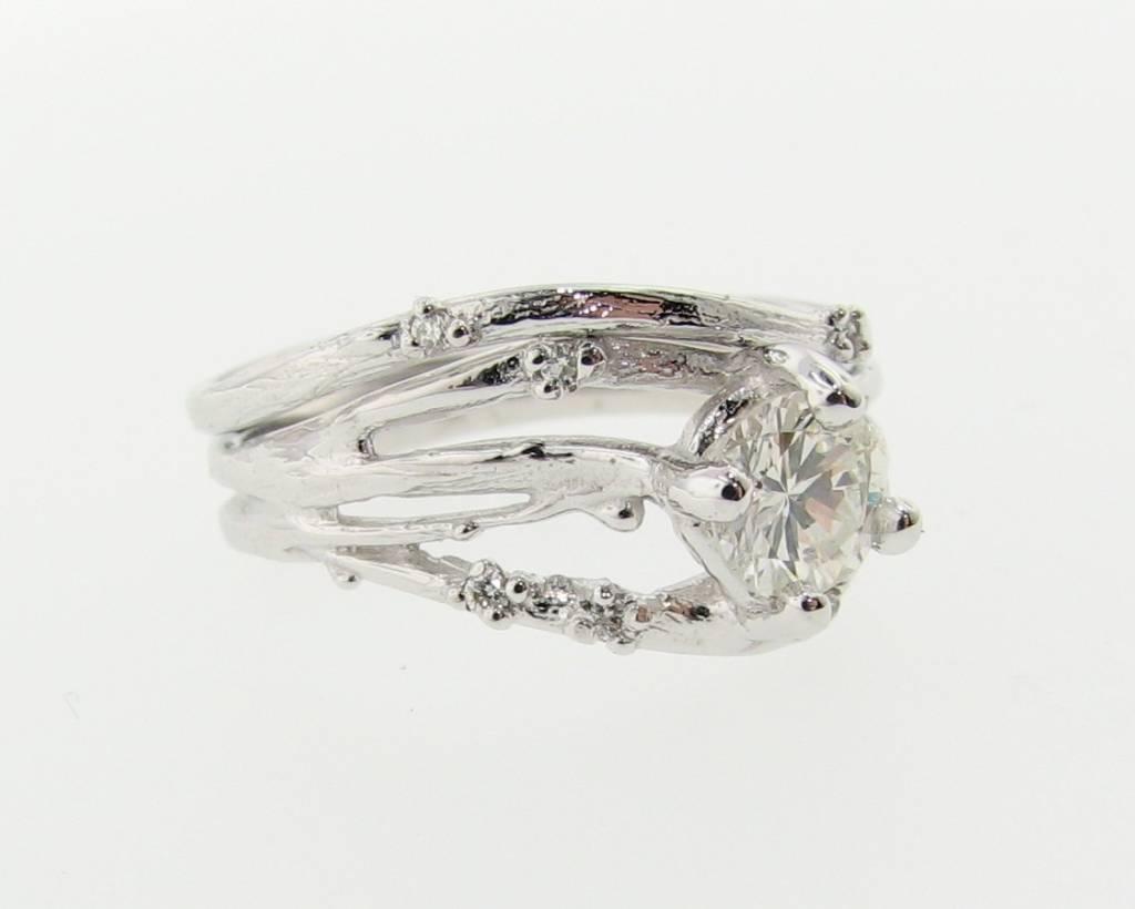 Organic Diamond White Gold Wedding Ring Set, Cherry Blossom
