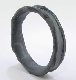 Organic Black Silver Ring, Medium Melted Band