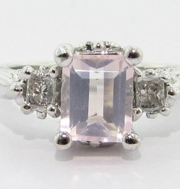 Vintage Rose Quartz Diamond Ring, Old Paris Ring