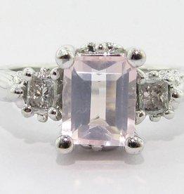 Vintage Rose Quartz Diamond Ring, Old Paris Ring