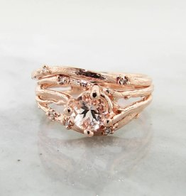 Organic Morganite Rose Gold Wedding Set, Cherry Blossom