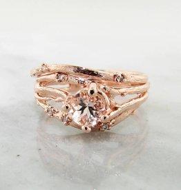 Organic Morganite Rose Gold Wedding Set, Cherry Blossom