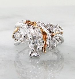 Motion Yellow White Gold Diamond Ring, Waterfall