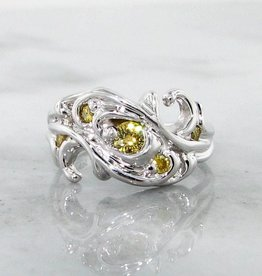 Motion Yellow Diamond White Gold Ring, Swirl