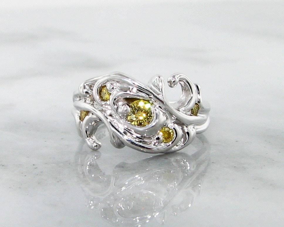 Motion Yellow Diamond White Gold Ring, Swirl