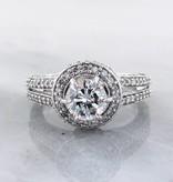 Timeless Bridal Diamond White Gold Engagement Ring, Halo