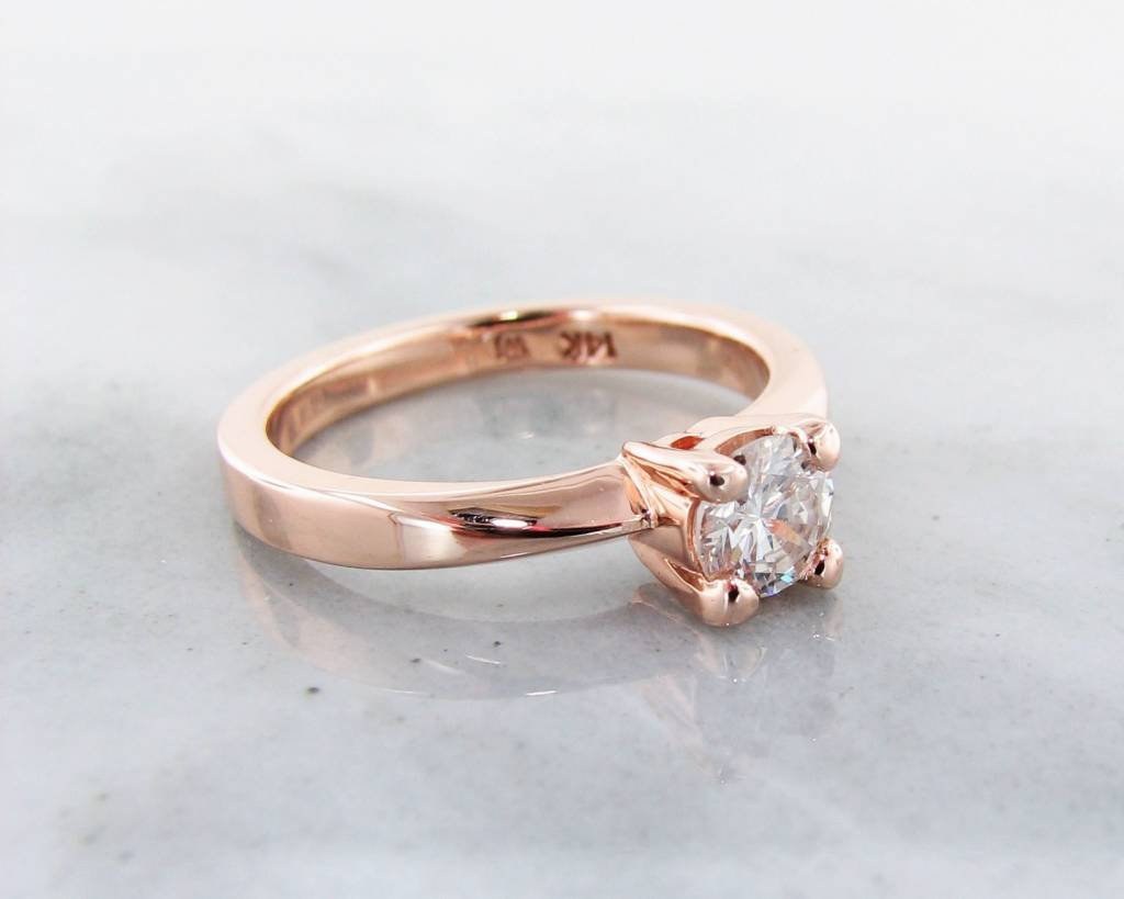 Timeless Bridal Rose Gold Diamond Solitaire Engagement Ring, Wexford Standard