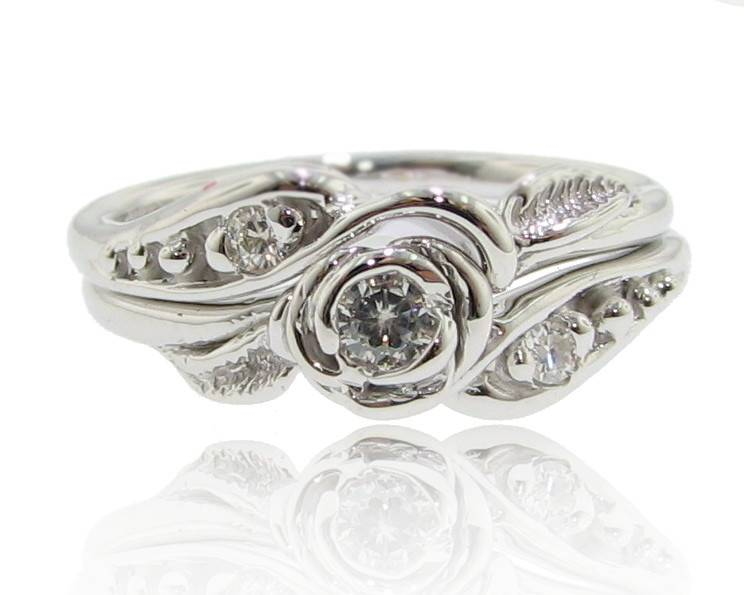 Signature Rose Moissanite White Gold Wedding Ring Set, Tea Rose