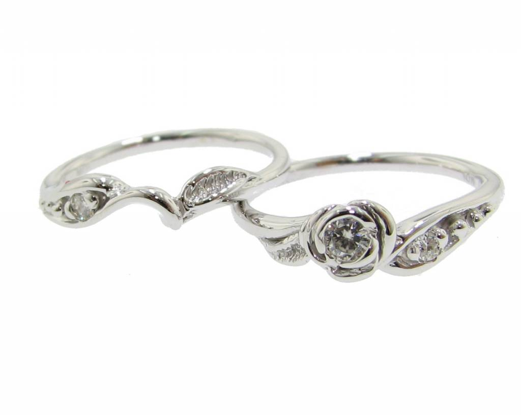 Signature Rose Moissanite White Gold Wedding Ring Set, Tea Rose