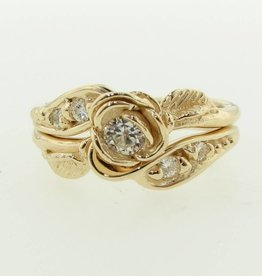 Signature Rose Yellow Gold Moissanite Wedding Ring Set, Prize Tea Rose