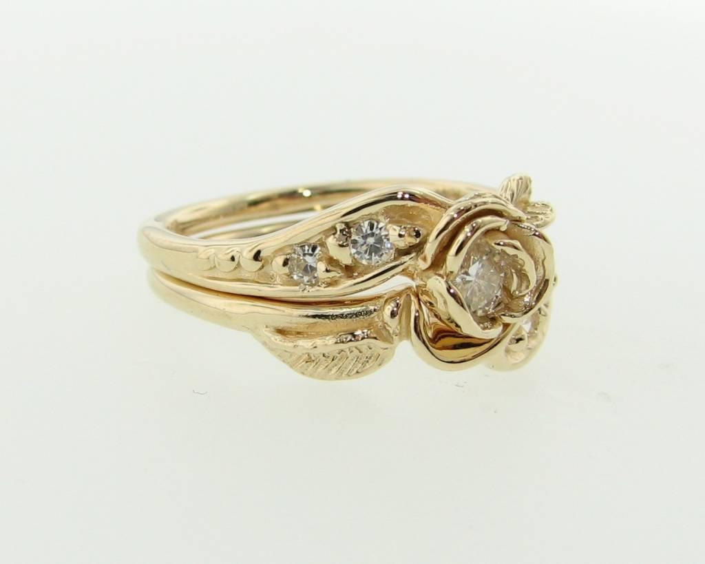 Signature Rose Yellow Gold Moissanite Wedding Ring Set, Prize Tea Rose