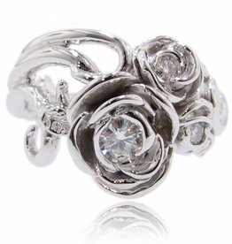 Signature Rose Moissanite White Gold Ring, Rose Bouquet