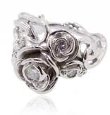 Signature Rose Moissanite White Gold Ring, Rose Bouquet