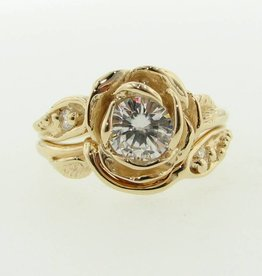 signature rose moissanite yellow gold wedding set large tea rose - Rose Shaped Wedding Ring