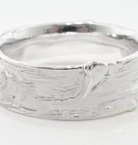Rustic Silver Ring, Wide Birch Band