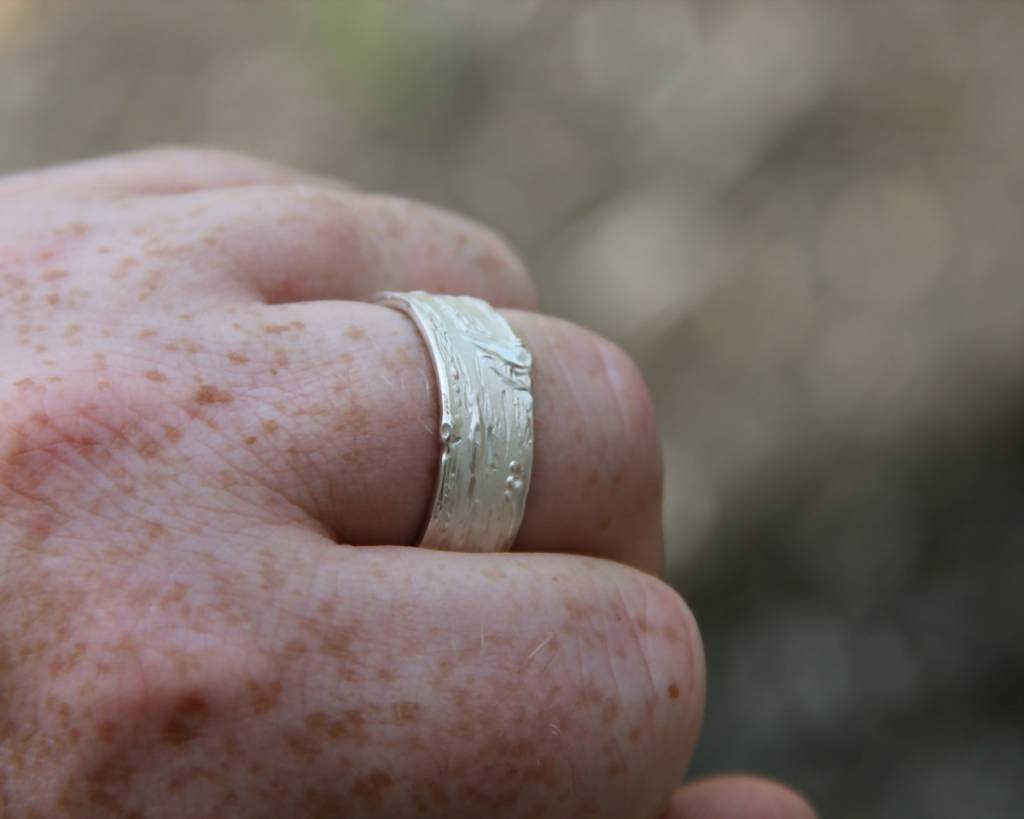 Rustic Silver Diamond Ring, Wide Birch Band