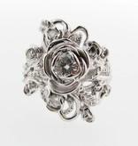 Signature Rose White Gold Moissanite Wedding Ring Set, Jane Rose