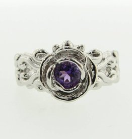 Signature Rose Amethyst Silver Ring, Victorian A la Rose