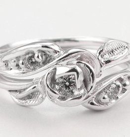 Signature Rose Diamond Silver Wedding Ring Set, Tea Rose