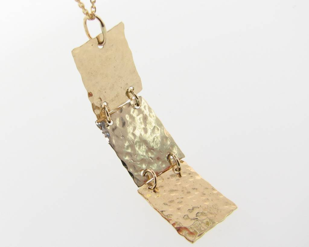 Hammered Hammered 3 Level Pendant, Yellow Gold