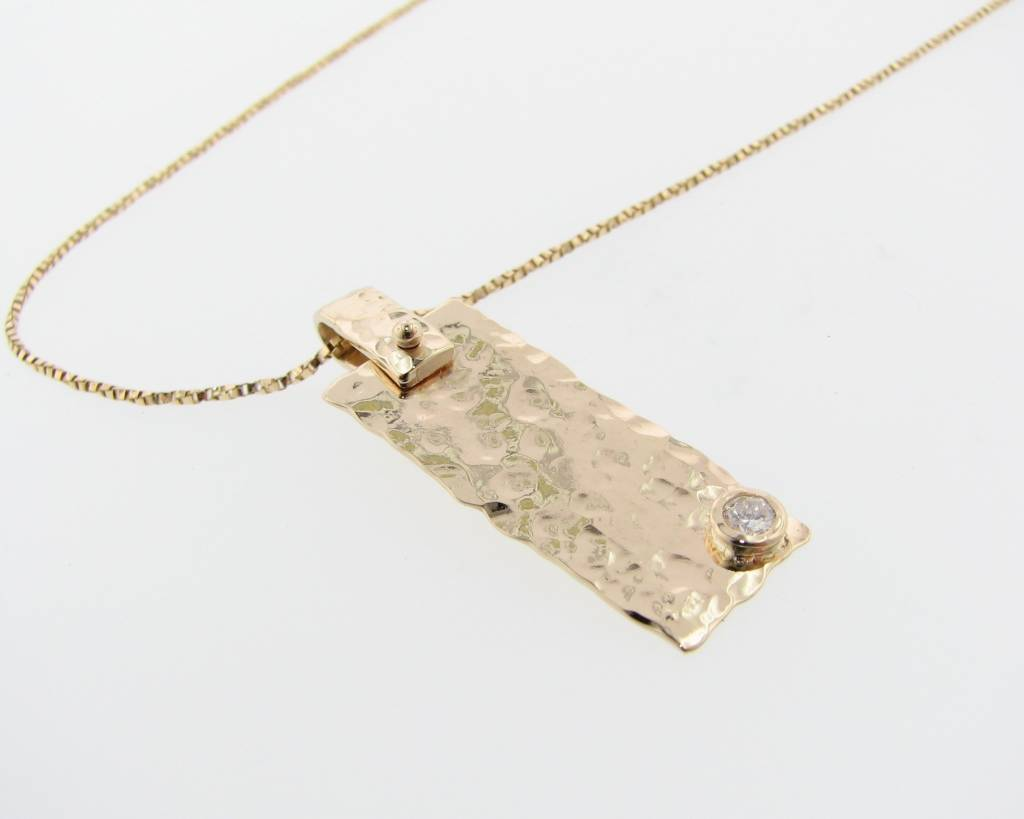 Hammered Hammered Diamond Necklace, Yellow Gold