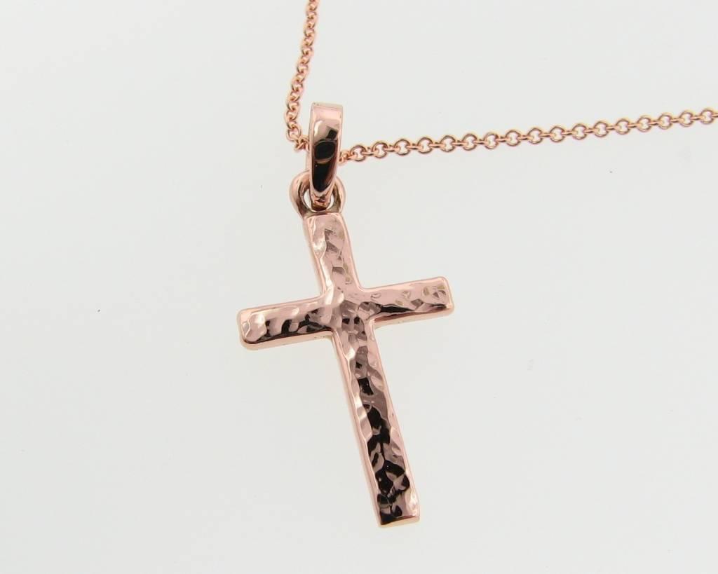 Hammered Hammered Cross Pendant, Rose Gold