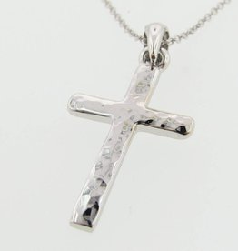 Hammered Hammered Cross Pendant, White Gold